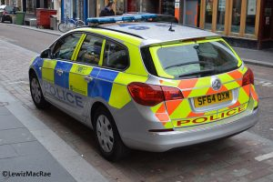 The police use a numb er of makes and models of car including the Vauxhall Astra.